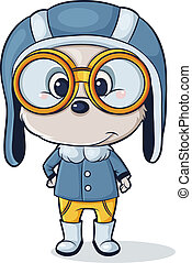 dog pilot - vector character of the dog clothing pilot