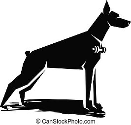 doberman - black and white silhouette of a dog with a...
