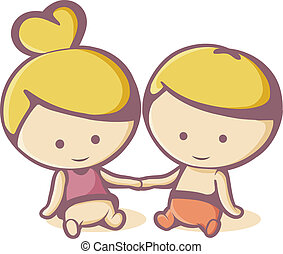 funny child - color illustration of a couple kids