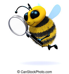 3d Bee magnifies - 3d render of a bee with a magnifying...