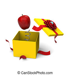 Apple springing out from a gift box - 3D model of red apple...