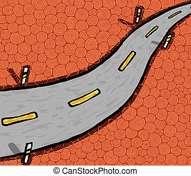Highway - Hand drawn highway, vector illustration