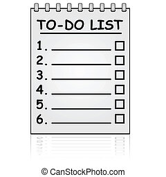 To do list - Cartoon illustration showing a paper pad with a...