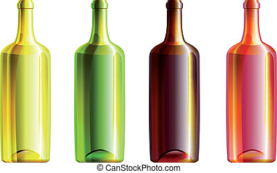 Set of 4 wine opened bottles with different glass color...