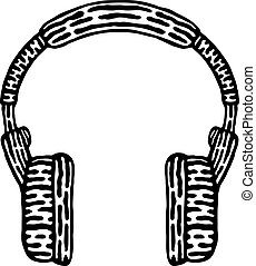 Styled headphones, black and white, vector illustration