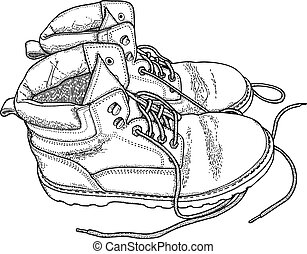 Fatigue boots - Hand drawn fatigue boots, vector...
