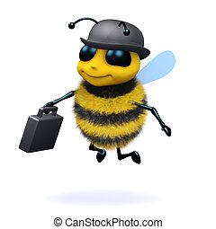 3d Business bee - 3d render of a bee dressed as a...