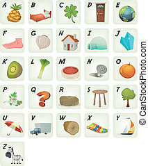 Cartoon ABC Cliparts Poster - Illustration of a set of cute...