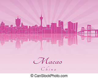 Macao skyline in purple radiant orchid in editable vector...