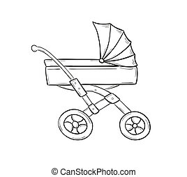 stroller - sketch of stroller for small baby on white...