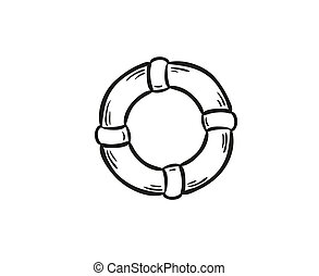 life buoy - sketch of the life buoy on white background,...
