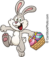 Easter bunny - Cartoon Easter bunny jumping with egg basket...