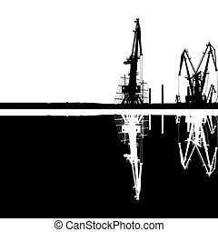 Seaport Silhouette Reflection