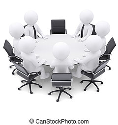3d people at the round table One chair is empty - 3d white...