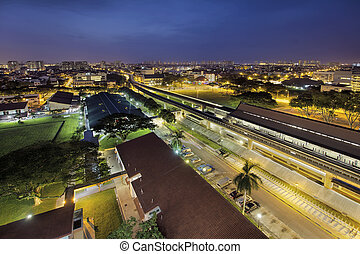 Eunos MRT Train Station at Dawn - Eunos Housing District MRT...