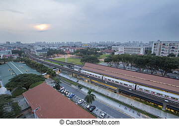 Eunos MRT Train Station at Sunrise - Eunos Housing District...