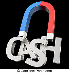 Magnetizing CASH - Magnet magnetizes the word CASH on black...
