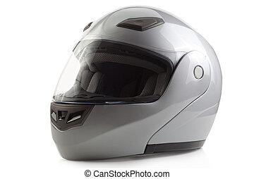 Silver glossy bike helmet isolated - Gray flip-up motorcycle...