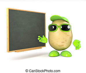 3d Potato teacher - 3d render of a potato teaching at the...