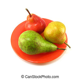 pears - image of red, gree, and yellow pears on a white...