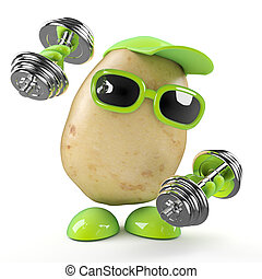 3d Potato works out - 3d render of a potato working out with...
