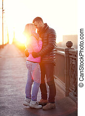 heterosexual couple in the city - A pair of lovers are...