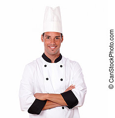 Professional hispanic chef smiling at you - Portrait of...