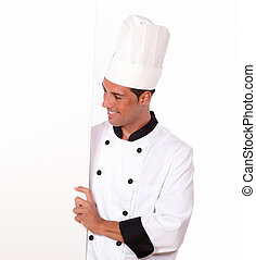 Professional chef holding a white blank placard - Portrait...