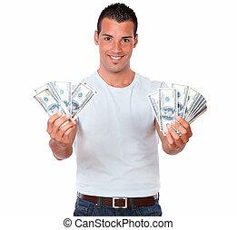 Gorgeous hispanic man holding his cash - Portrait of a...