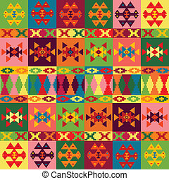 Ethnic motifs background, carpet with folk ornaments in different colors