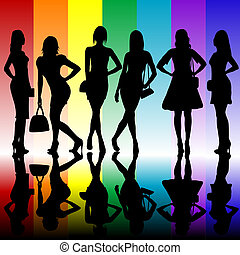 Fashion background with young ladies silhouettes