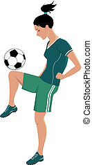 Female football player - Young girl playing football or...