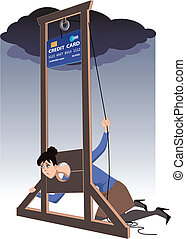 Credit card guillotine - Depressed woman lying in a...