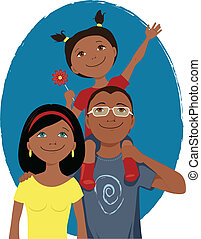 Happy cartoon family portrait - Young family of three posing...