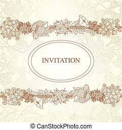 Vector floral invitation card, hand drawn retro flowers and leaves in circle