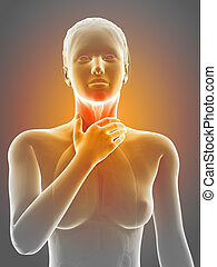Painful throat - Medical illustration of a female with an...