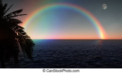 (1033) Tropical Rainbow Ocean with Moon and Palms - Tropical...