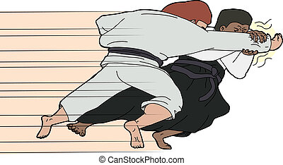 Fast Aikido Throw - Aikido martial arts master throwing one...