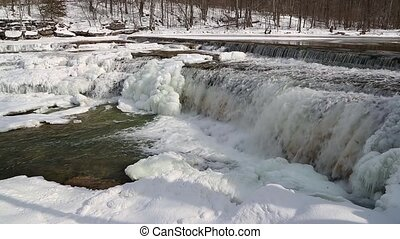 Icy Whitewater Loop - Water splashes down a wintry,...