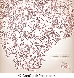 Vector floral background, hand drawn retro flowers and leaves