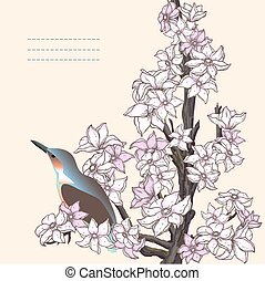 Branch of hand drawn cherry blossom with the bird
