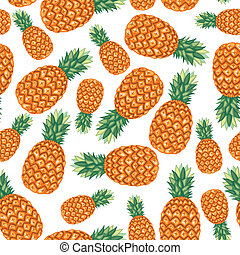 Pineapples fruit pattern seamless - Cartoon seamless pattern...