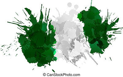 Nigerian flag made of colorful splashes