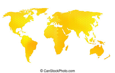 World map vector illustration, honeycomb pattern bee design.