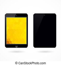 Illustration of black tablet pc on white