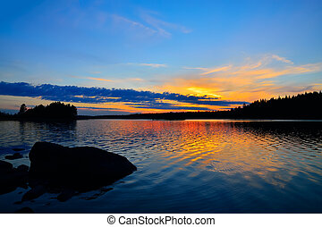 Charm of the Northern sunset Engozero, North Karelia, Russia...