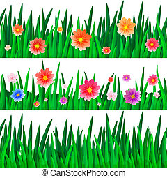 banners with repeating pattern tile of isolate grass with flowers