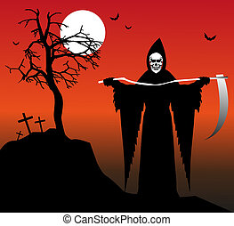 death with scythe under a full moon