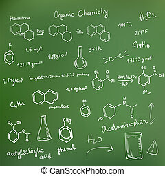 Welcome back to school background. Chemical formulas on...