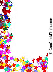 confetti border frame isolated on white